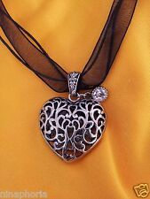 SILVER SCROLLED PUFFY HEART CRYSTAL PENDANT BLACK WHITE CHOKER RIBBON NECKLACES