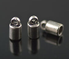 50pcs Silver End Bead Cap Stopper Inside Size 3mm For Leather Cord Charms