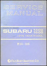 1976 Subaru Shop Manual Supplement 1400 1600 DL GF Std Repair Service OEM