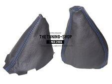 For Fiat Barchetta 1995-05 Gear & Handbrake Gaiter Black Leather Blue Stitching