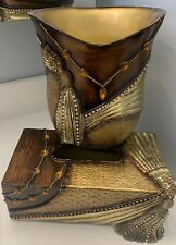 Beautiful Ceramic Diamonds~Jewels~Gold~Brow n Tissue Box Cover And Waste Basket