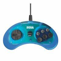 Retro-Bit Official SEGA Genesis 6-Button Arcade Pad Controller Clear Blue