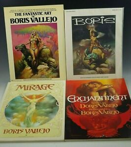 BORIS VALLEJO 4 FANTASY ART BOOKS MIRAGE,ENCHANTMENT,FANTASTIC ART VG CONDITION