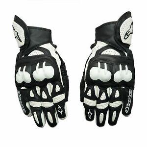 Alpinestars GPX Leather Motorcycle Motorbike Race Suede Glove - Black/White