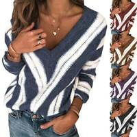 Women's Ladies Autumn Casual V-Neck Sweater Knitted Long Sleeve Jumper Pullover