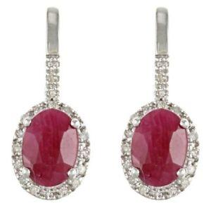 10k White Gold Genuine Ruby and Diamond Earrings (1/5 TDW)