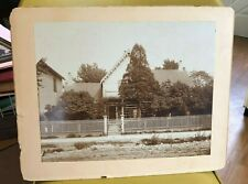 Vintage Sepia Photo House with number 1794 fence dirt street sidewalk