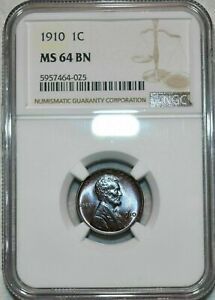 1910-P LINCOLN WHEAT CENT NGC MS64 BN NICE LIGHT TONING