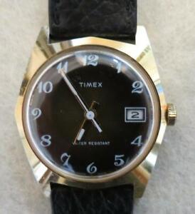 Men's Gold Timex 1978 Marlin Date Brown Face Watch