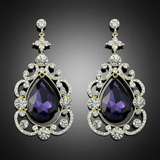 Elegant Royal Dangle Purple Crystal Dangle Drop Rhinestone party jewelry earring