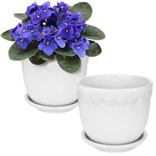 MyGift Set of 2 White Ceramic Scallop Design Planter Pots with Attached Saucers