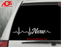NURSE HEARTBEAT Vinyl Car Window Decal Sticker Emt Hospital Occupation Job  #398