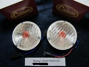 FITS JEEP CJ5 1969-1976 C101 JEEPSTER FRONT SIGNAL LAMPS PAIR FREE SHIP! !