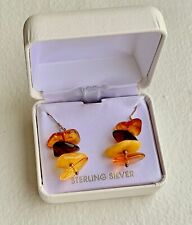 Genuine Amber Hand Made Dangle Earrings in Sterling Silver. Made in Poland