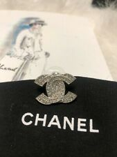Single Crystal Silver Earring New Authentic Medium Chanel