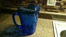 Vintage Blue Glass Heavy Pitcher Cobalt Beer Water Drink Antique