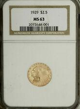 Indian gold 1929 $2 1/2 MS 63 , NGC guarantee