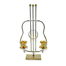 "24k Gold & Silver Plated Candle Holders Guitar Shape 9.25"" Tall Israel By Korem"