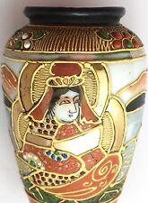 VINTAGE giapponese Satsuma Vaso di porcellana piccola GEISHA ORO straniere TIMBRO