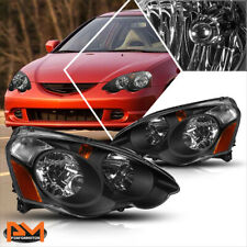 For 02-04 Acura RSX DC5 Headlight/Lamps Black Housing Clear Lens Amber Corner