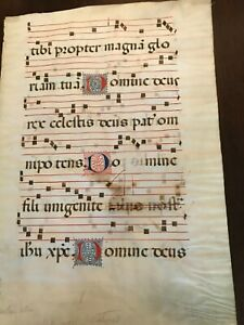 Authentic Northern Italian15th century double-sided Antiphonal music manuscript