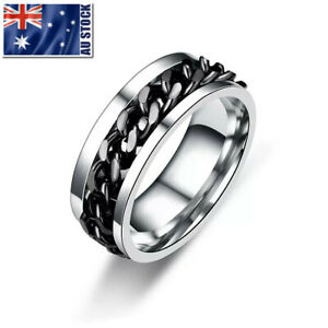 Titanium Stainless Steel 8mm Spinner Ring Curb Chain Men Women Band Size 6-15