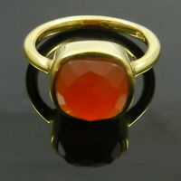 925 Sterling silver Natural Carnelian gemstone cushion 18k gold vermeil ring