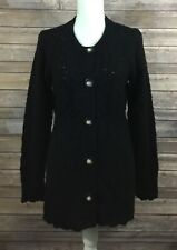 Juicy Couture NWT Womens Button Down Maternity Sweater Medium Black Wool 266