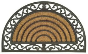 Imports Decor 708RBCM Half Round Rubber Back Coir Doormat Scrolled Grill