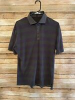 Lululemon Athletica Mens Purple Gray Striped SS Polo Shirt Size XL Active Slim