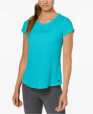 Calvin Klein Performance Women's Overlapping-Back T-Shirt, Cyan, L