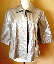 NEW $129 CHICO'S METALLIC SILVER SWING JACKET RAINCOAT WATER-RESISTANT SZ 1 M-L