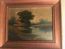 """Antique """"Home And Lake Scene"""" Oil Painting - Framed - For Restoration"""
