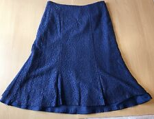 Lovely Eastex Skirt Size UK 16 Blue Floral Calf Length Lined Cotton Blend