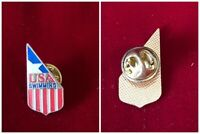 USA Swimming Olympics Red White Blue Cloisonne Enamel Tie Hat Lapel Pin 1""