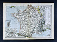 c 1885 Hartleben Map - France - Paris Corsica Le Tour Lyon Marseille Bordeaux