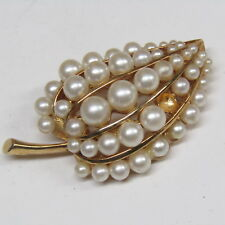 Vintage Jewelry COROCRAFT Brooch Graduated Faux Pearl Leaf *Missing a Pearl*
