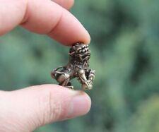 China 100% Pure Bronze Foo Dog Lion Wealth Animal Beast Amulet Statue Sculpture