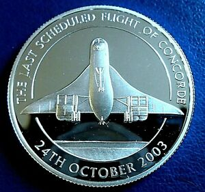 EAST CARIBBEAN STATES: 2003 $10 Concorde Final Flight .925 silver proof, capsule