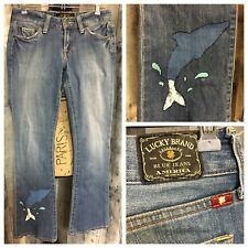 Lucky Brand Lola Boot Denim Jeans Women's Size 2 / 26 with Handpainted Dolphin
