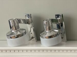 Retro 1950/60's Polished Cast-Aluminium Wall Lights x2