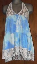 Nwt ENTRO cami halter TANK TOP TUNIC LACE TYE-DYED RUFFLE western vintage LG