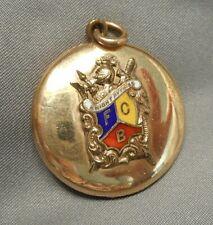 Antique Knights of Pythias Gold-Filled Fob Locket Enameled Gold Fraternal Crest