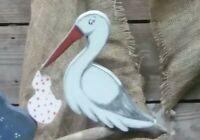 Storch zur Geburt🍼》*60cm HOCH Gartendeko*Neu-Handarbeit/KLAPPERSTORCH ohne Baby