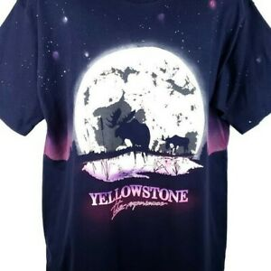 Yellowstone National Park T Shirt Vintage 90s Moose Blue SAMPLE Made In USA XL