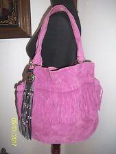 Euc Lucky Brand Distressed Light Purple Suede Leather Fringe Hobo Bag w/Bonus