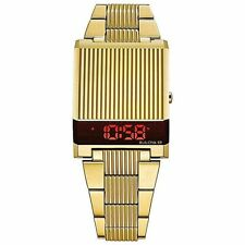 Bulova 97C110 Computron LED Digital Retro Watch Gold Tone Box & Papers
