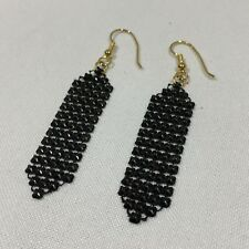 PAIR (2) VINTAGE BLACK INTERLOCKED MESH-LIKE DROP DANGLE EARRINGS W/ BLACK BEADS