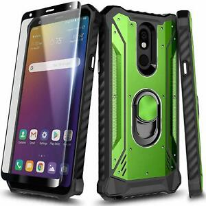 For LG K40/Solo LTE/Xpression Plus 2, Ring Stand Case + Tempered Glass Protector