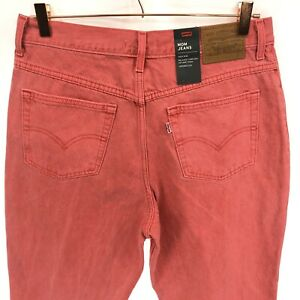 LEVI's Mom Jeans Women's 31 High Rise Light Red Tapered Leg Zip Fly Ankle Cotton